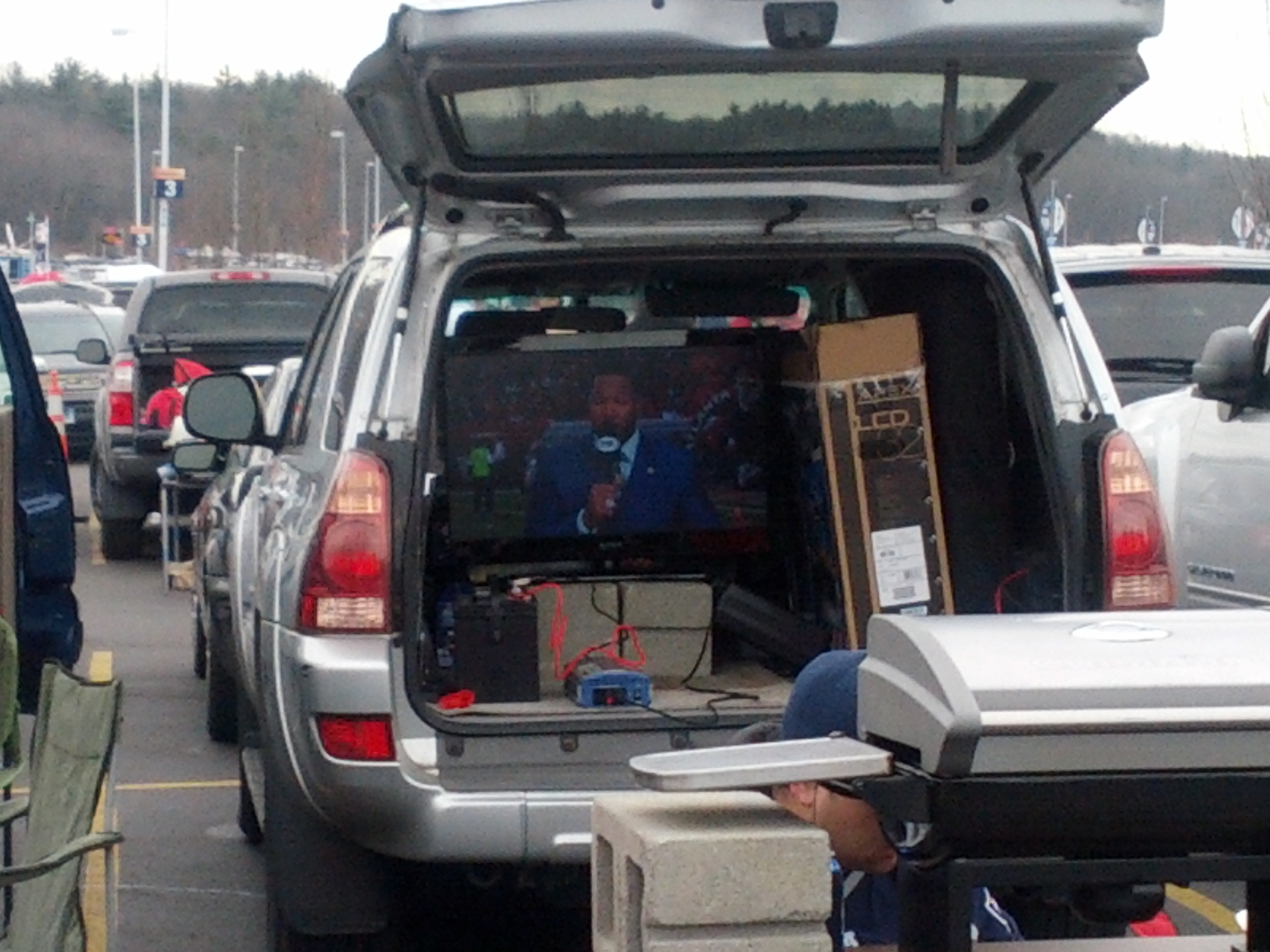 The NFC Championship game on somebody's television in their trunk.