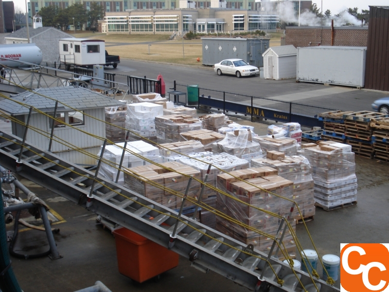 Palettes waiting to be hoisted