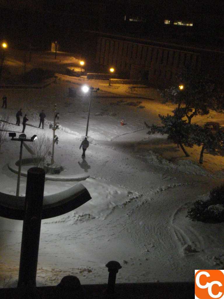 Cadets in the snow at Mass Maritime