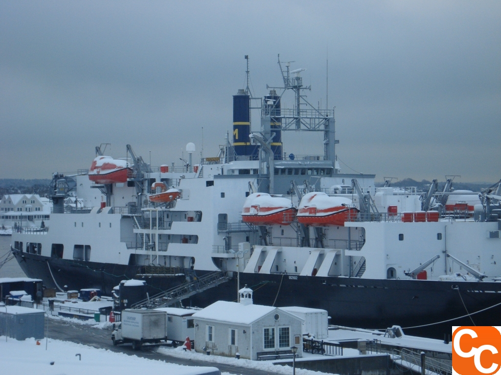 T.S. Enterprise in the snow