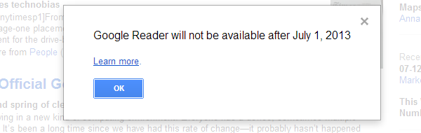 Google Reader shutdown message
