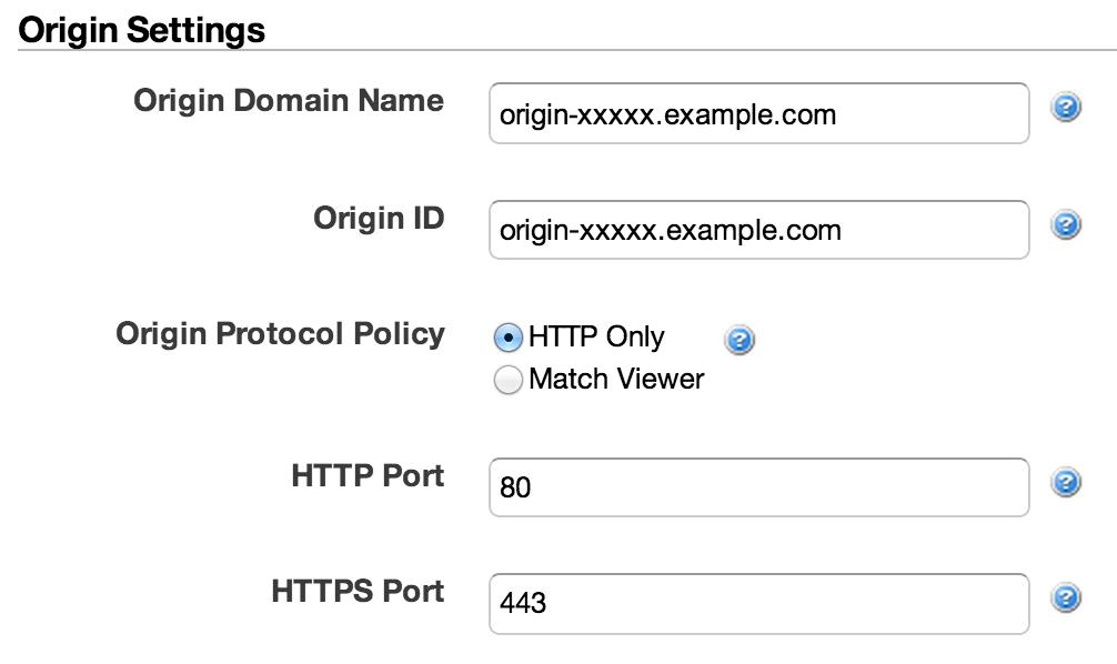 CloudFront: Origin Settings