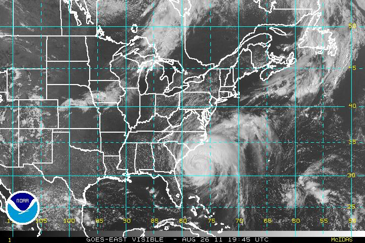 Irene: GOES East Visible 26AUG11 1945 UTC