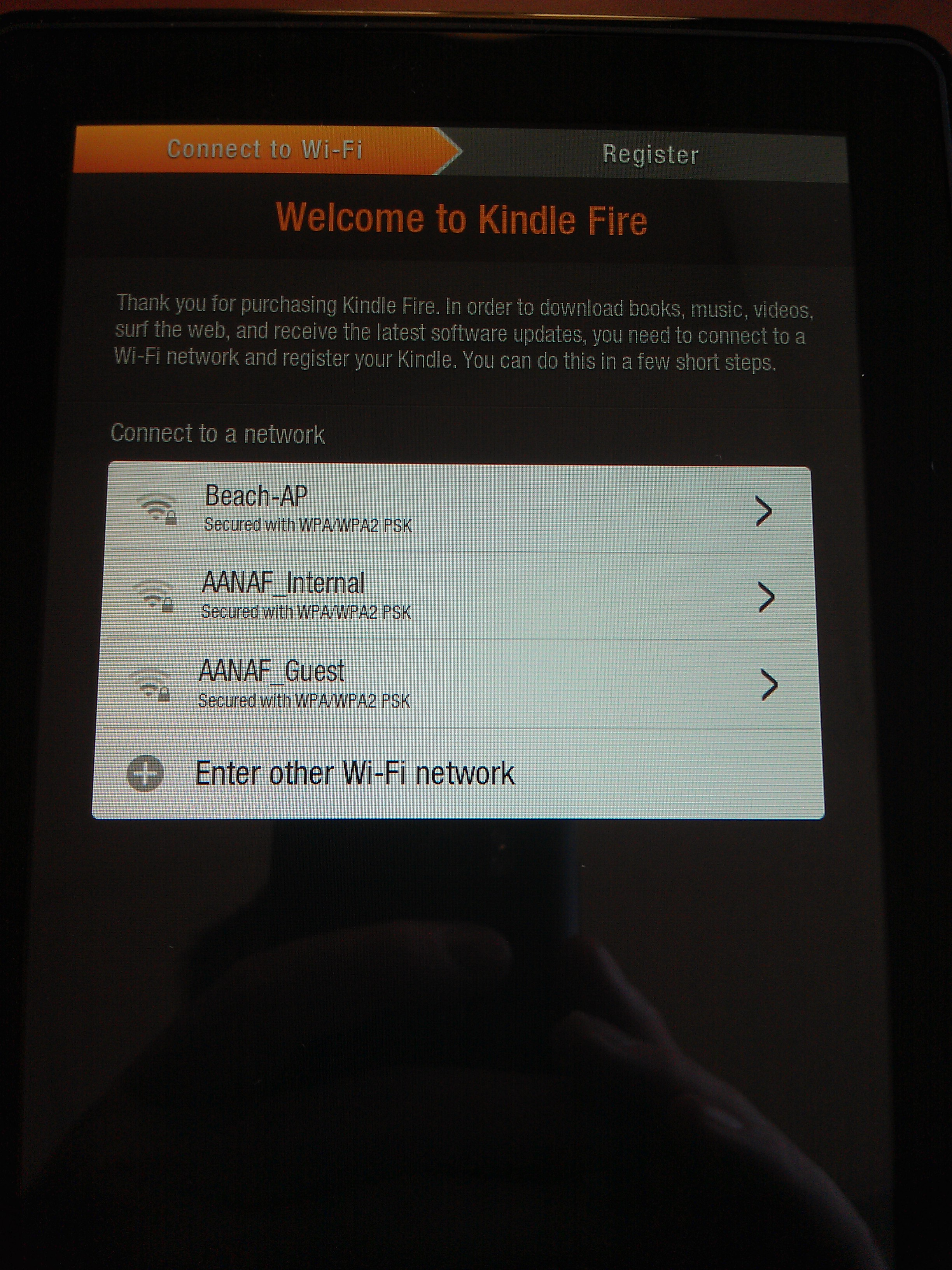 Kindle Fire Initial Boot: Wireless Network