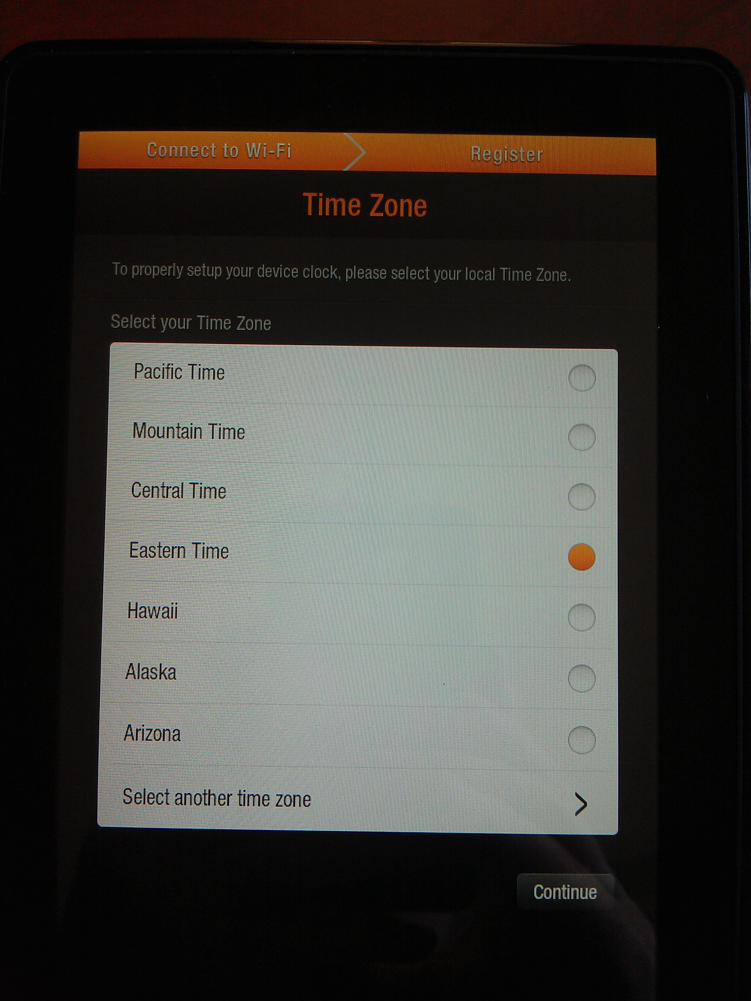 Kindle Fire Initial Boot: Time Zone