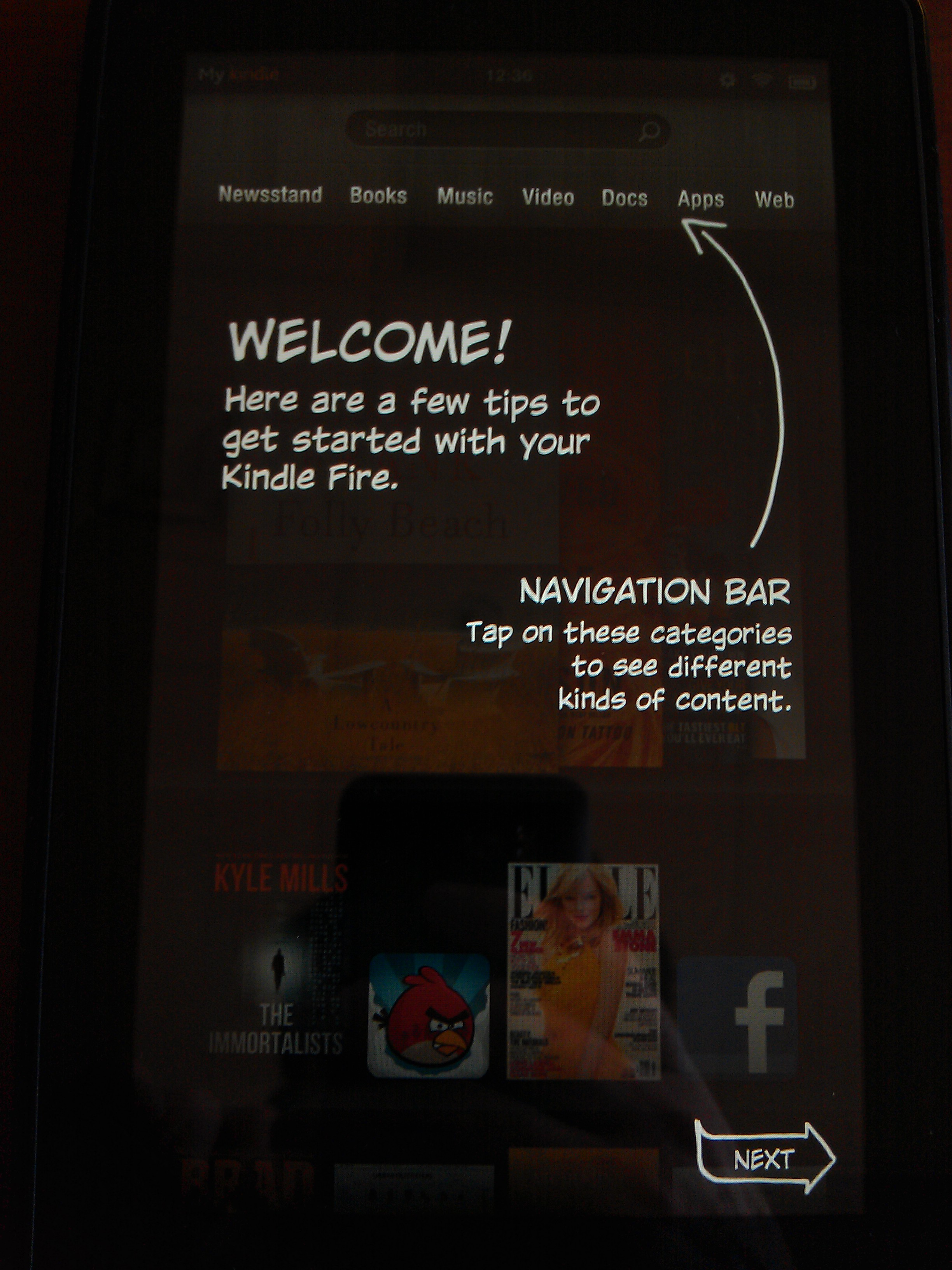 Kindle Fire Intro Screen 1