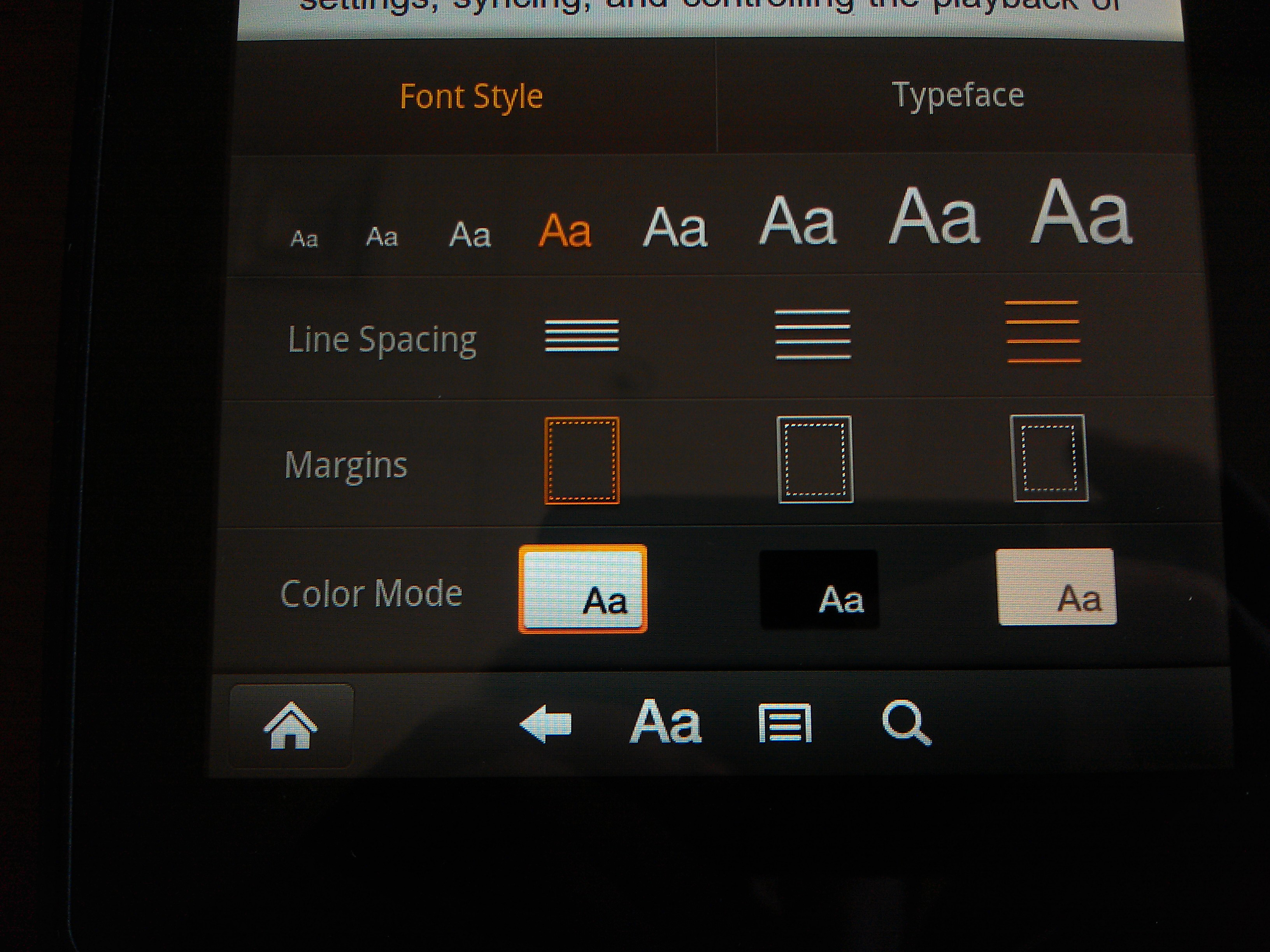 Kindle Fire Font Controls