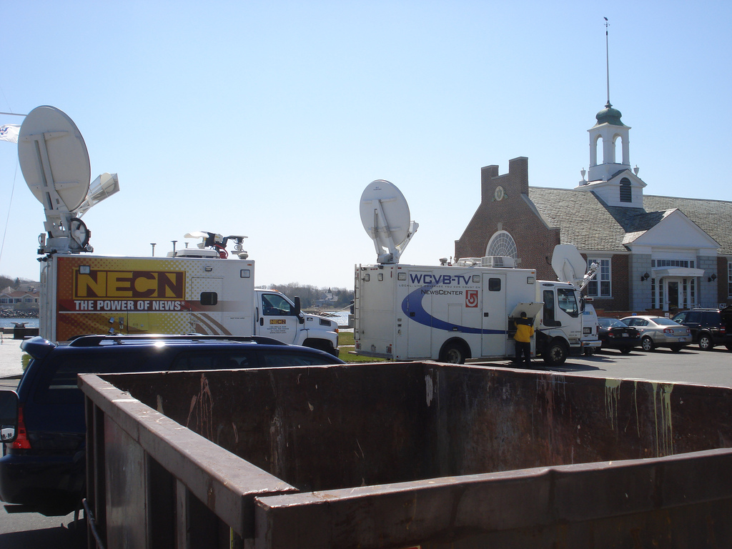 News Trucks at Mass Maritime