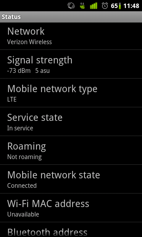 LTE Tether Speed Test Phone Status