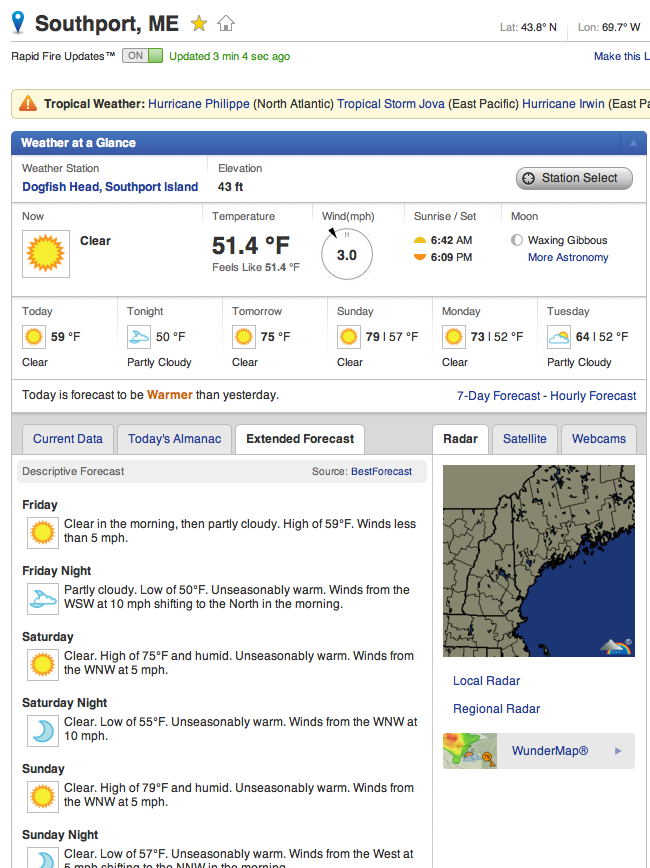 Weather Underground Southport, ME 07OCT11