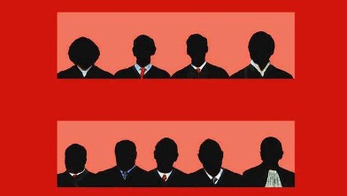 The nine Supreme Court justices embedded in equality.