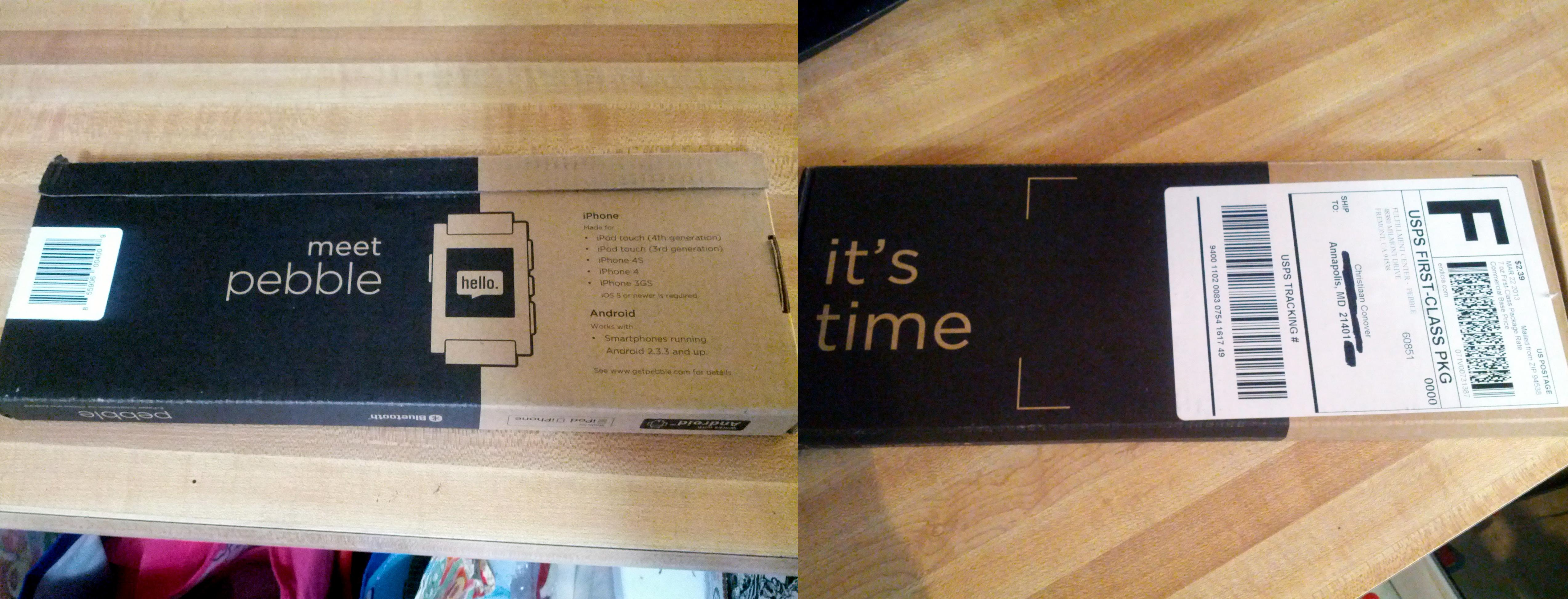 Pebble's box, front and back
