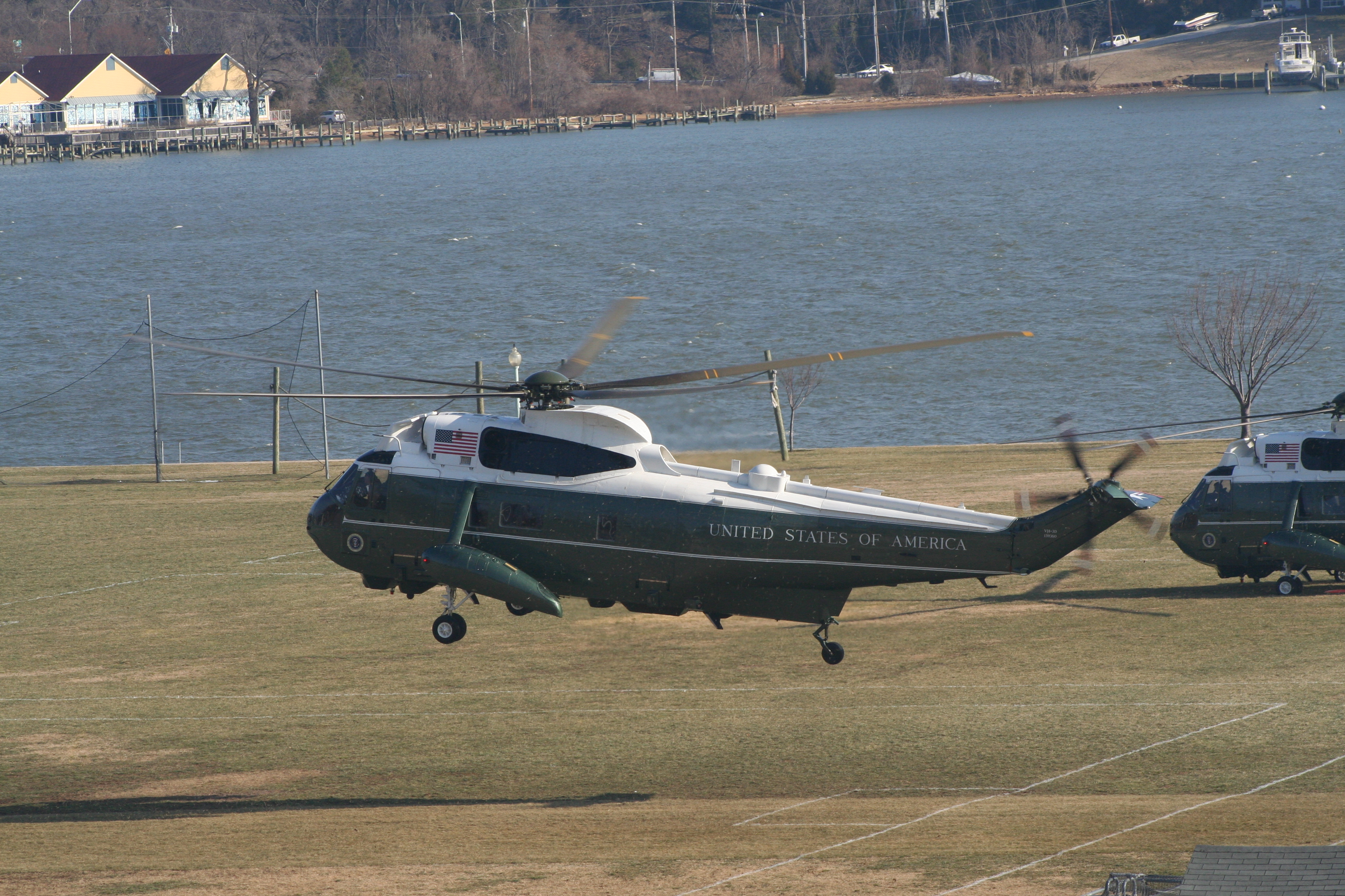 Marine One lands at the Naval Academy