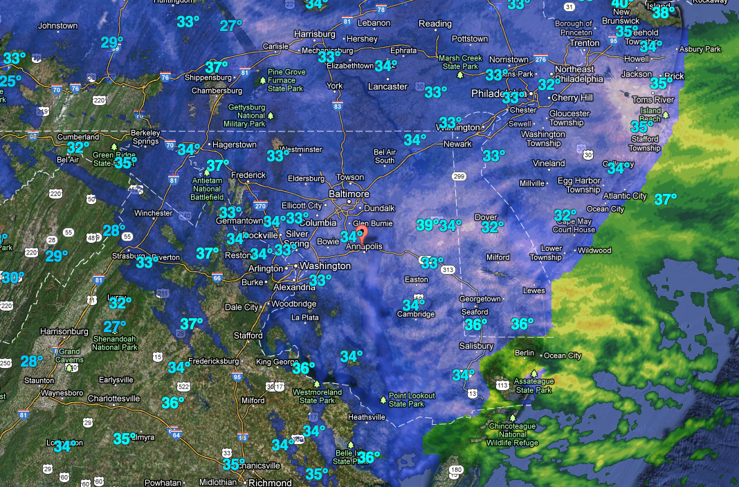 Weather Radar of Snow Storm March 25, 2013