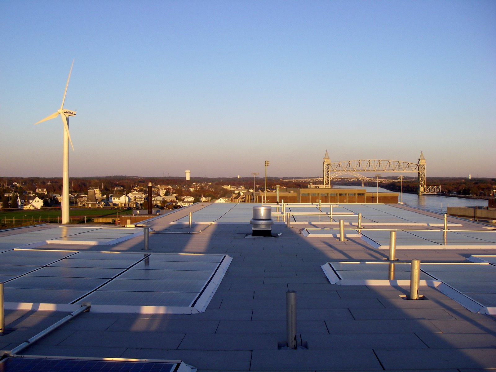 Solar panels and the wind turbine