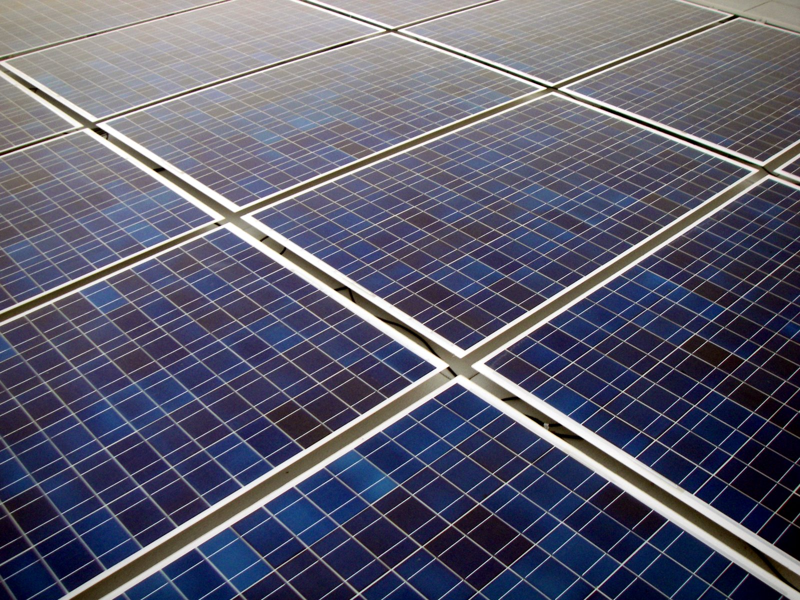 Solar panel grid up close