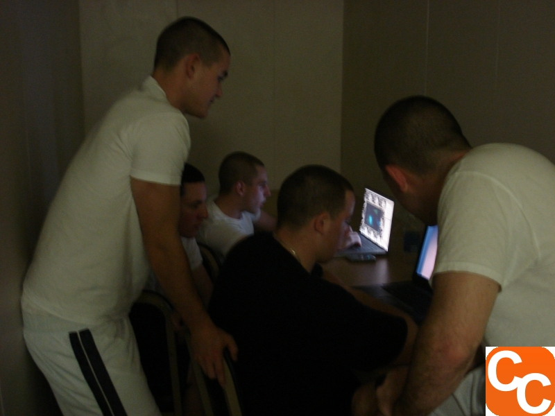 Cadets in a study area