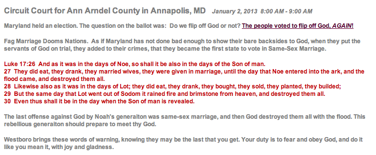 The Westboro Baptist Church's entry on their schedule for Annapolis on January 2, 2013