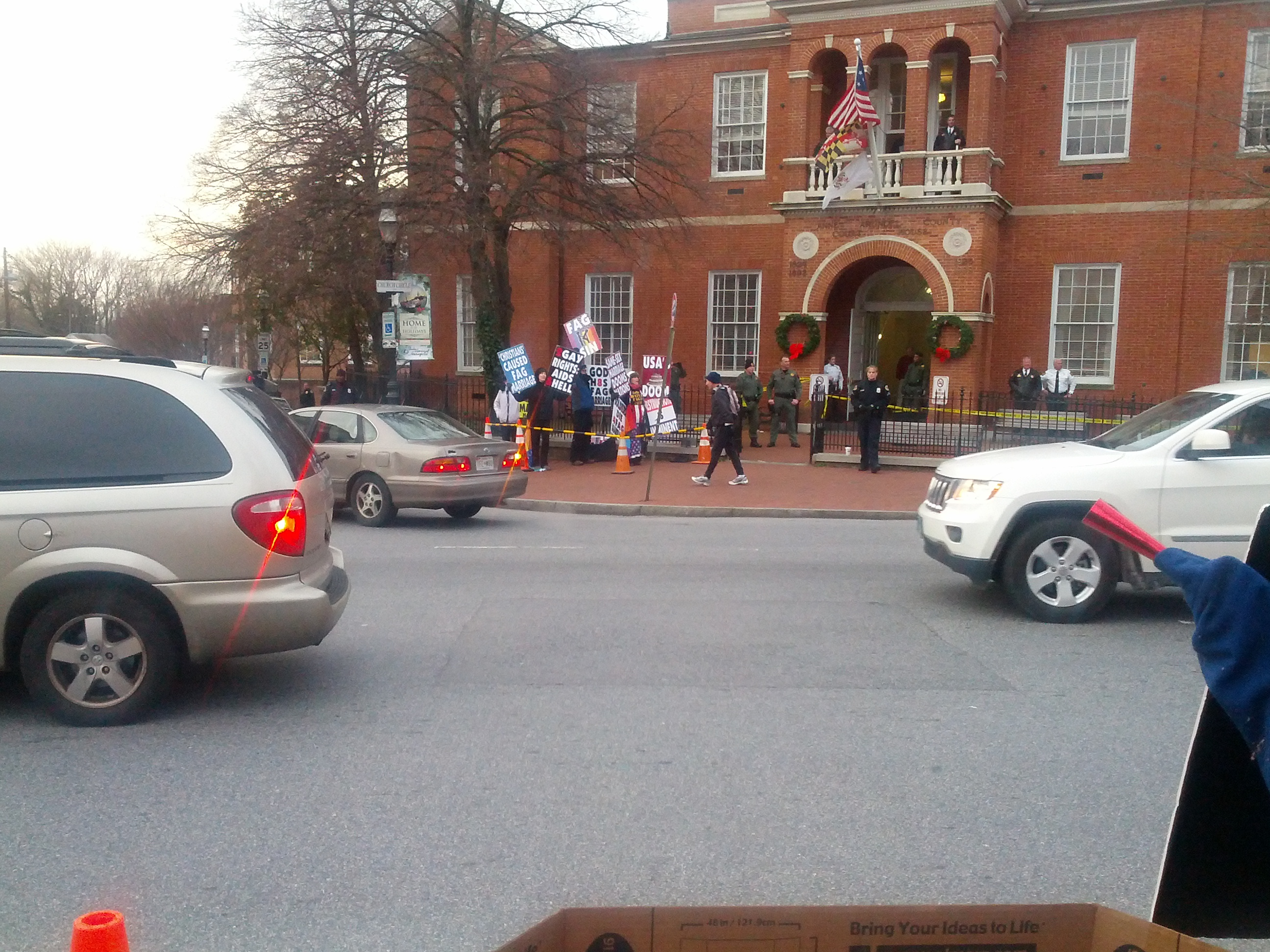 Members of Westboro Baptist Church demonstrating outside Anne Arundel County Courthouse in Annapolis, MD.