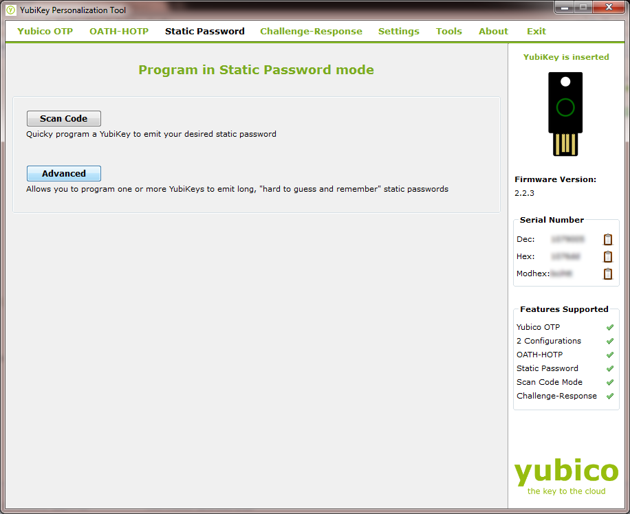 Yubikey Static Config Selection
